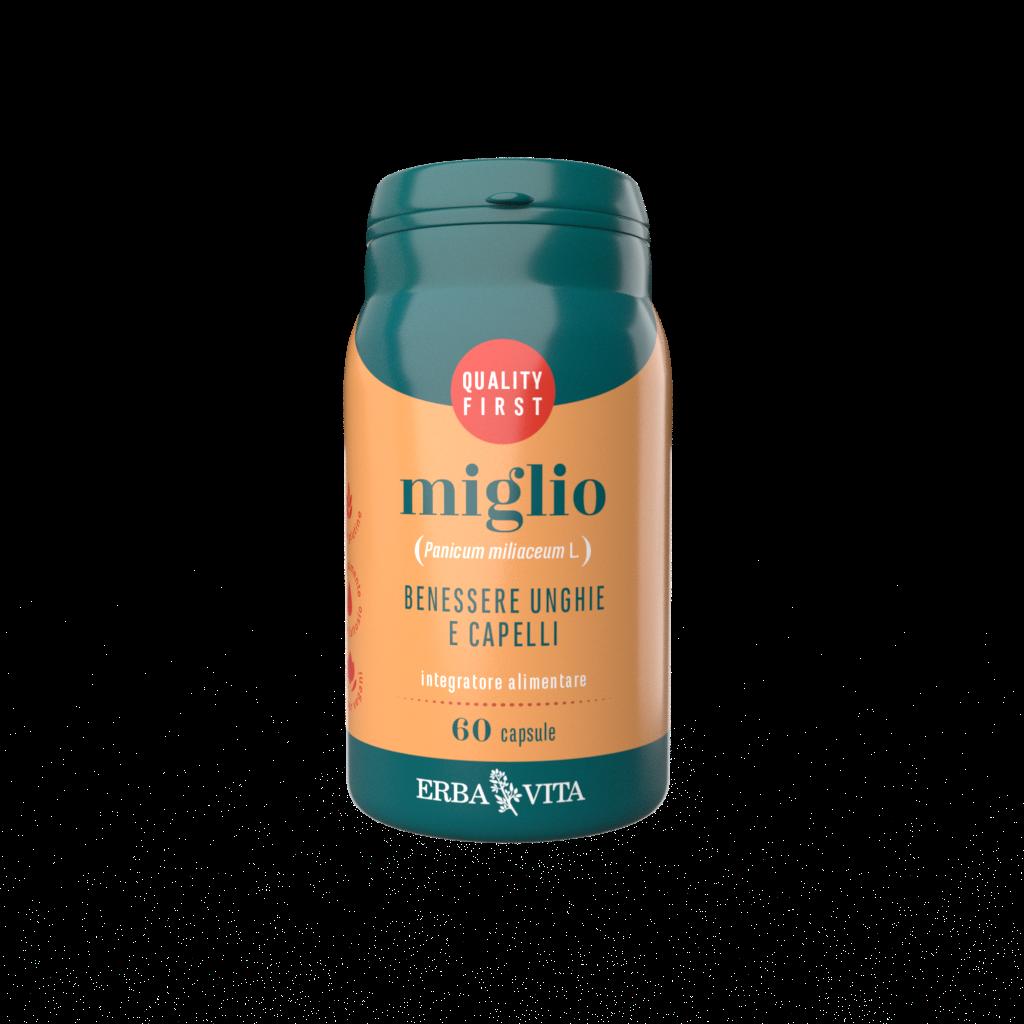 integratore alimentare a base di miglio in capsule per il benessere dei capelli e delle unghie